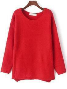 Red Round Neck Loose Knit Casual Sweater
