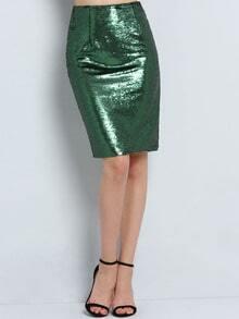 Falda lentejuelas recta -verde