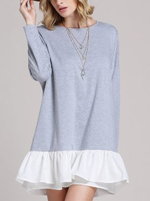 Grey White Color Block Dress
