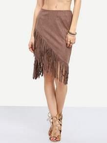Brown Asymmetric Tassel Skirt