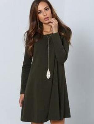 Dark Green Long Sleeve Designer Casual Dress