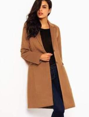Brown Long Sleeve Lapel Pockets Coat