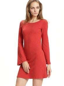 Vestido cuello redondo casual -rojo