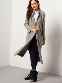 Grey Long Sleeve Pockets Coat