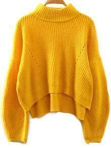 Yellow Stand Collar Lantern Sleeve Crop Sweater