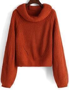 Orange High Neck Loose Crop Sweater