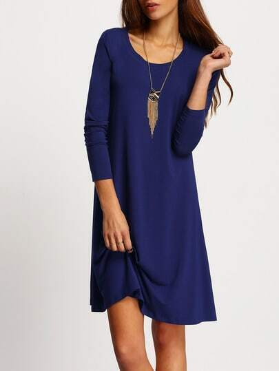Blue Long Sleeve Casual Dress pictures