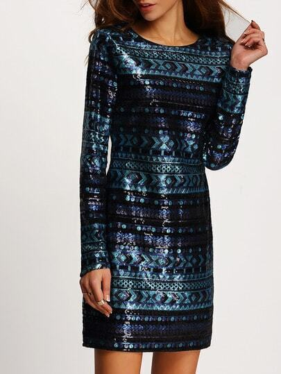 Blue Long Sleeve Sequined Bodycon Dress pictures