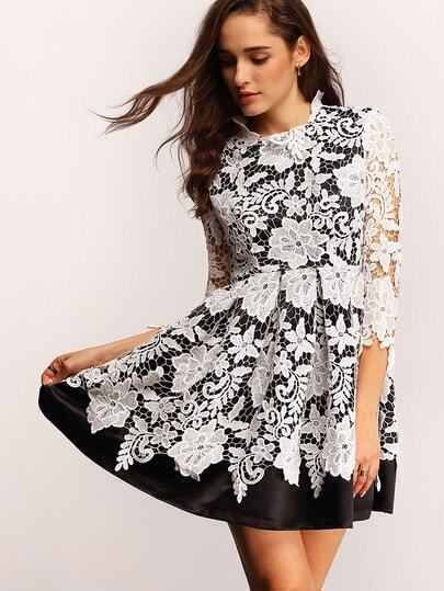 White Black Crochet Lace Flare Dress pictures