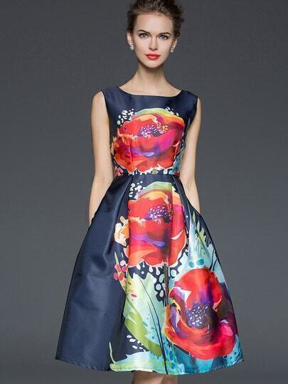 Navy Round Neck Sleeveless Print Dress pictures