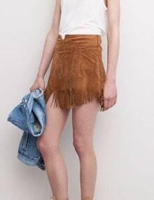 Camel Slim Tassel Bodycon Skirt