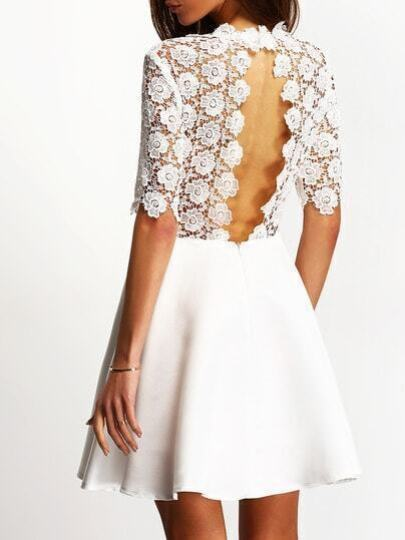 White Eyelet Cut Out Back Skater Dress pictures