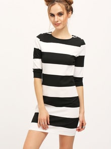 White Striped Boat Neck Dress