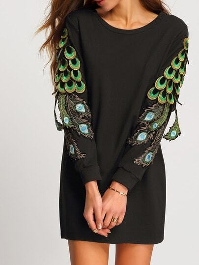 Black Round Neck Peacock Tail Embellished Dress pictures