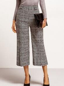 Black White Split Plaid Wide Leg Pant
