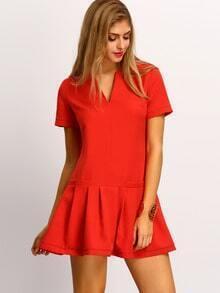 Orange Drop Waist Flounce Dress