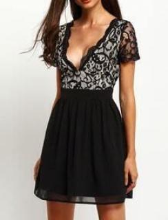 Black Plunge V Back Lace Dress