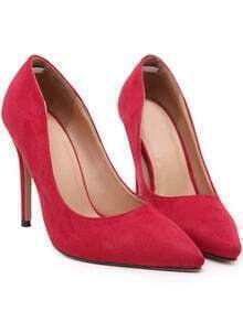 Red Point Toe Suede High Stiletto Heel Pumps