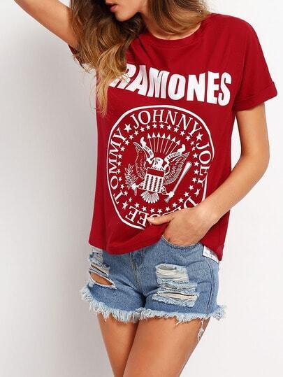 Camiseta letra estampada casual -borgoña