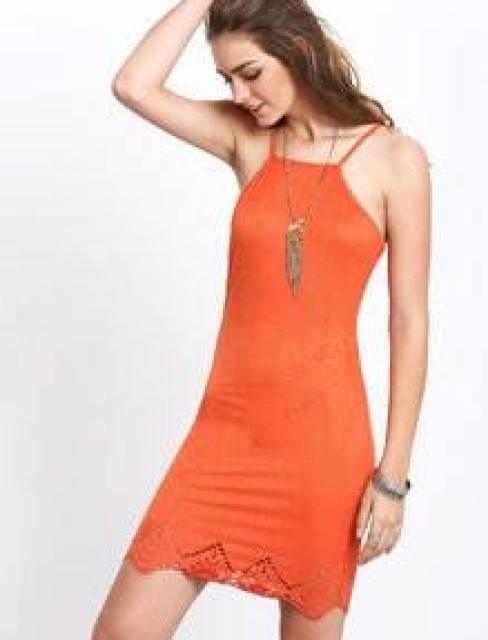 Orange Criss Cross Lace Up Backless Spaghetti Strap Dress