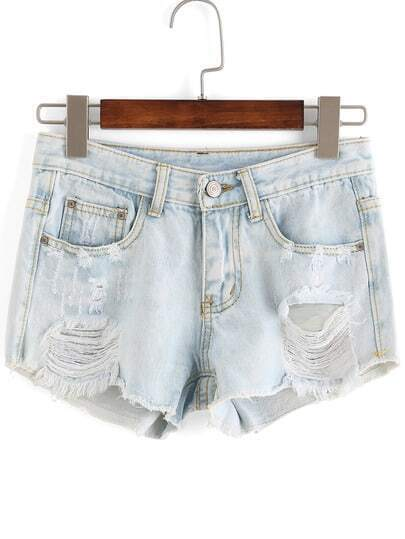 Ripped Pockets Denim Shorts -SheIn(Sheinside)