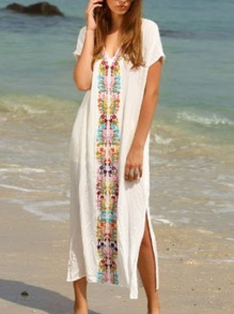 White Placement Print Split Side Maxi Dress