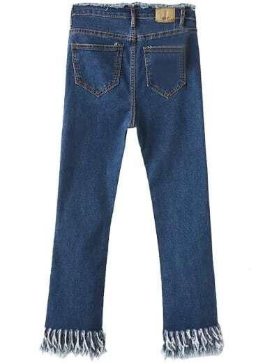 Blue Pockets Fringe Denim Pants -SheIn(Sheinside)