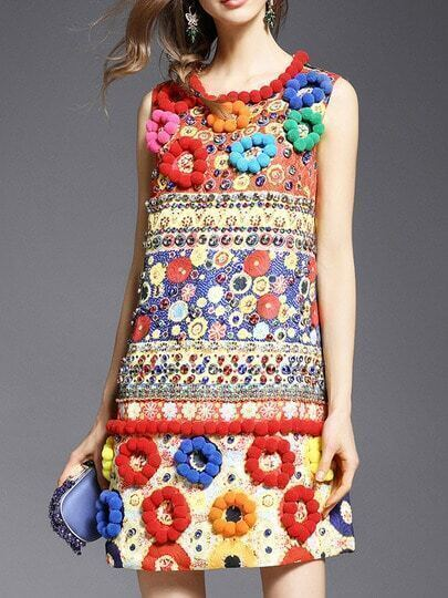 Multicolor Beading Disc Flowers Jacquard Dress pictures