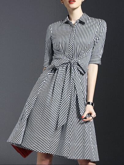 White Lapel Tie-Waist Striped Dress pictures