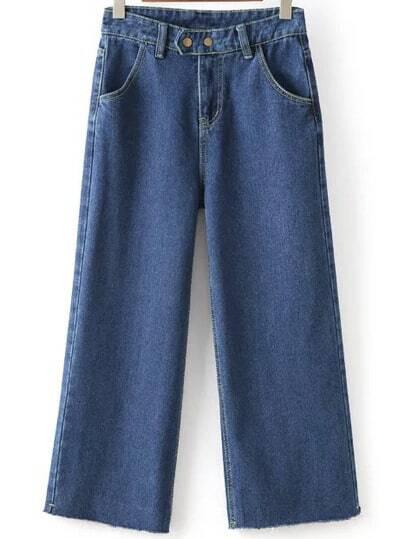 Frayed Wide Leg Denim Blue Pant -SheIn(Sheinside)