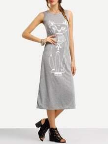 Grey Sleeveless Cat Print Slim Dress