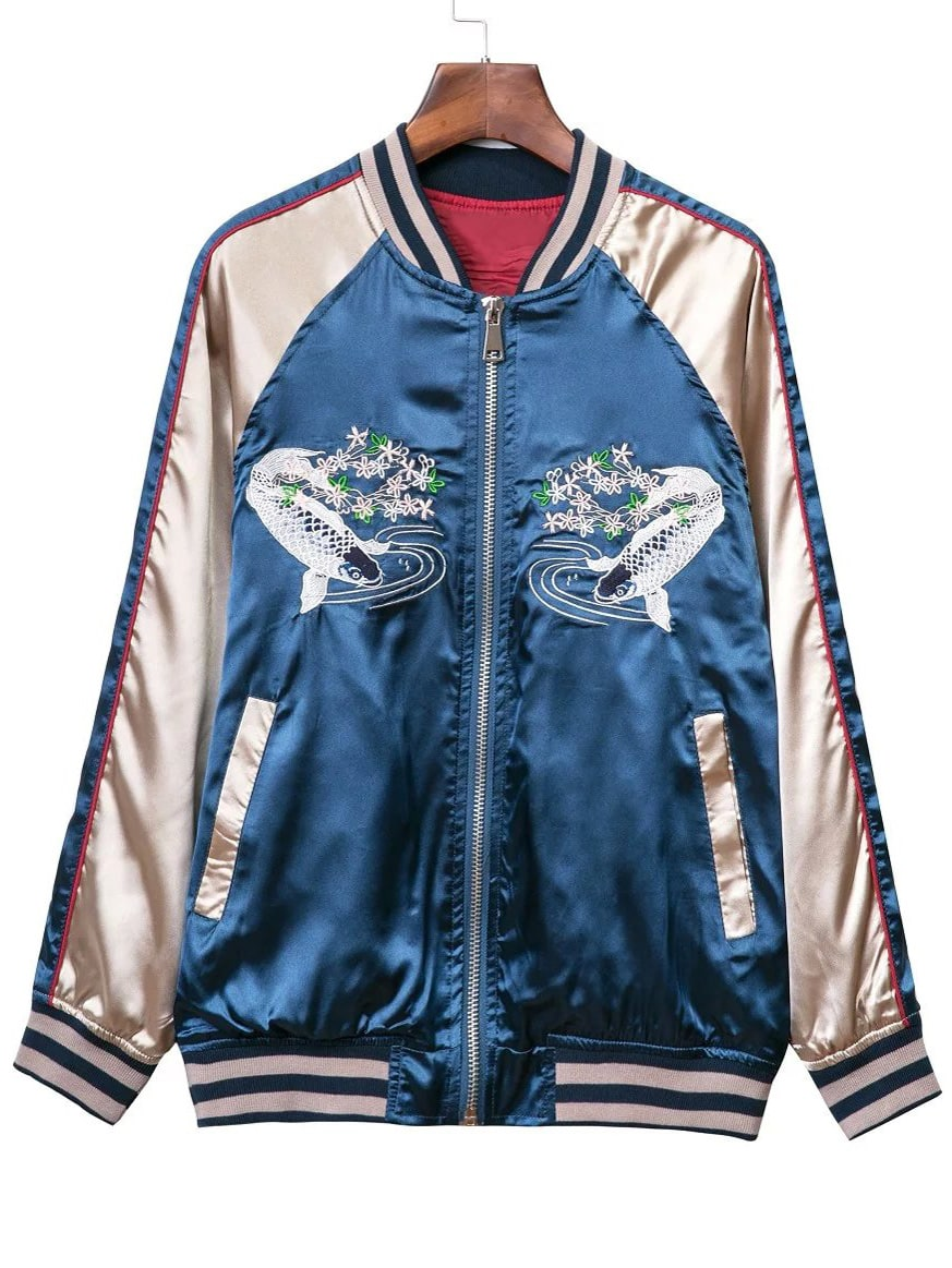 Blue Pockets Zipper Front Fishes Embroidery Jacket SheIn