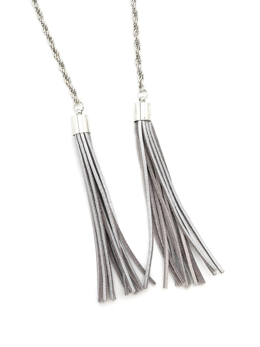 Silver Metallic Genuine Leather Fringe Waist Chain