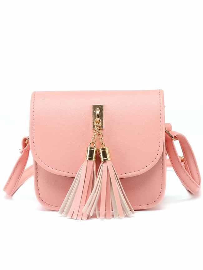 SheIn Pink Tassel Embellished Flap Bag