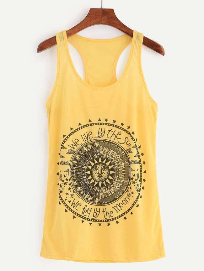 SheIn Yellow Sun Print Tank Top