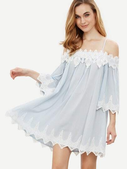 Spaghettiträger Kleid mit Häkelspitze - blau