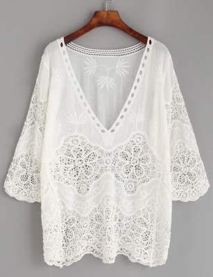 Crochet insert embroidered blouse