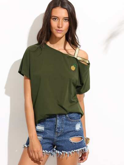 Camiseta manga corta con tiras lentejuelas - verde militar