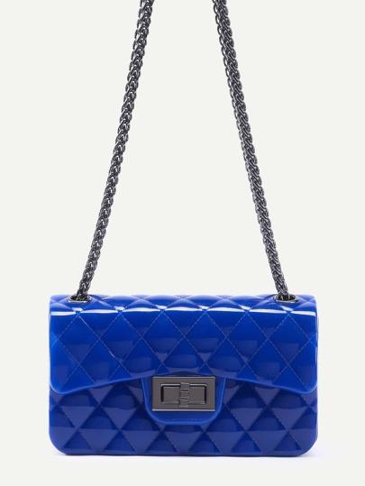 Bolso guateado con cadena de plástico - azul real
