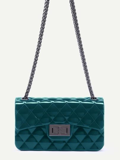 Bolso guateado con cadena de plástico - verde