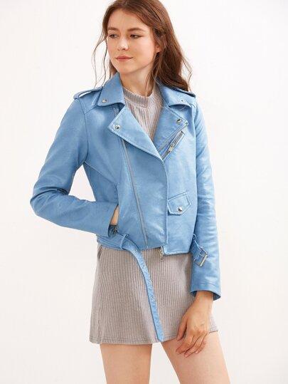 Chaqueta motera cuero sintético cremallera cinturón - azul