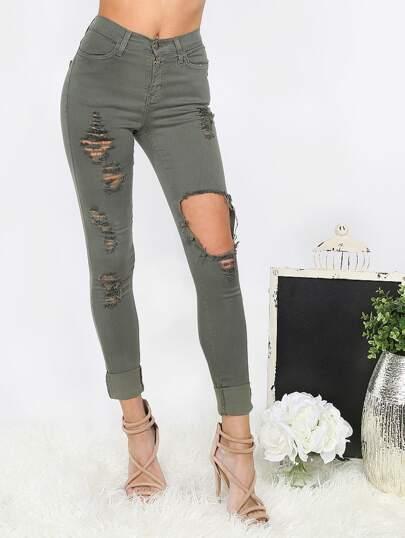 Pantalons moulants effet edchire - olivacé vert