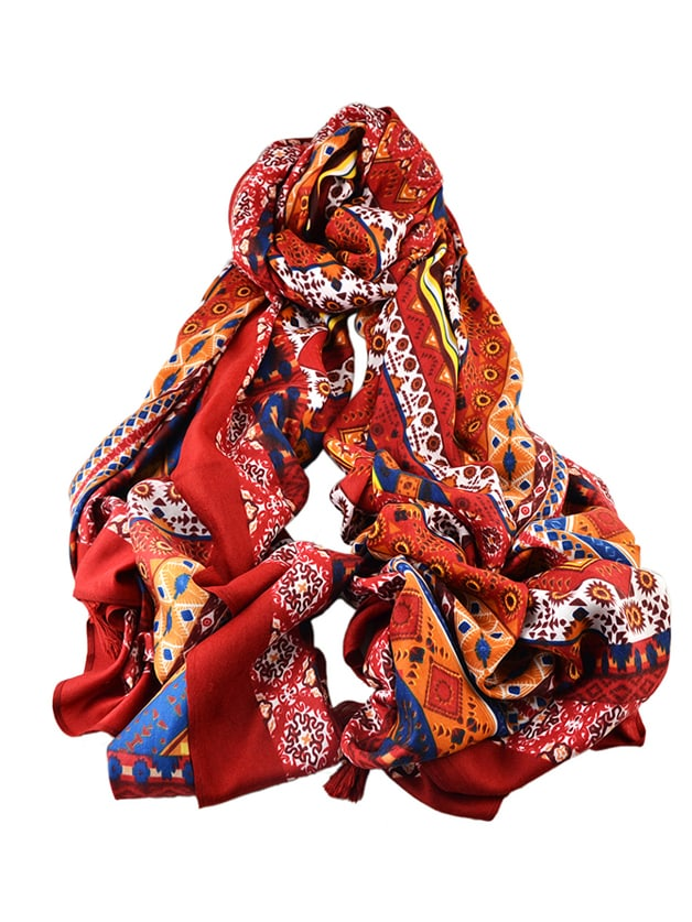 SheIn Red New Arrival Printed Cotton Soft Wide Scarf For Ladies