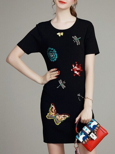 Black Sequined Beading Embroidered Sheath Dress
