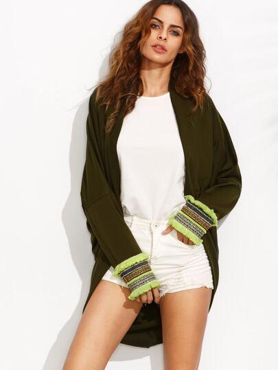 Kimono manga larga ribete flecos - verde militar