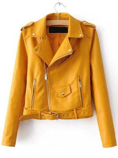Chaqueta motera cuero sintético cremallera cinturón - amarillo