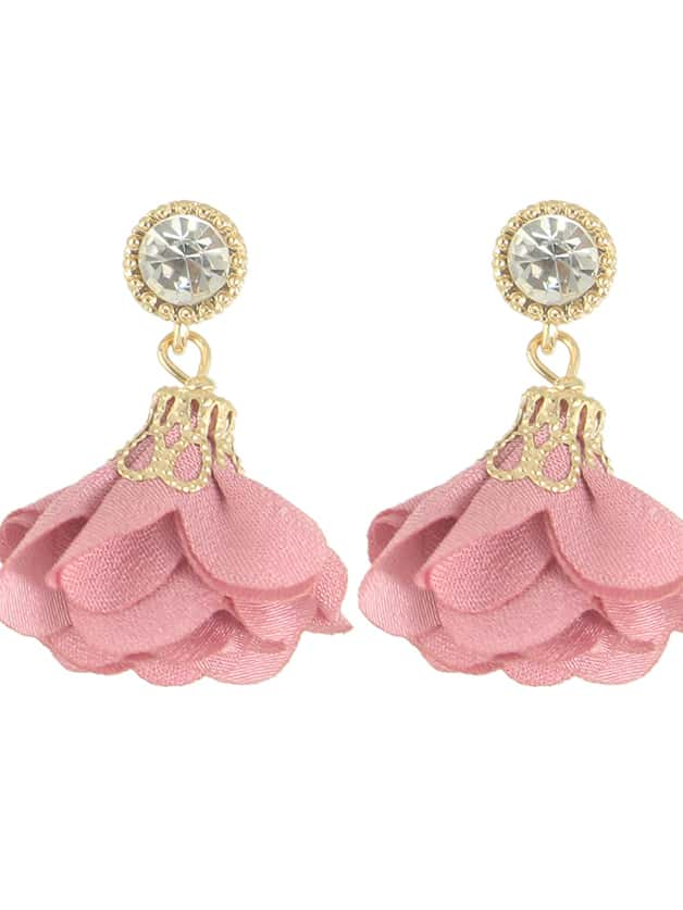 SheIn Pink Women Jewelry Flower Drop Earrings