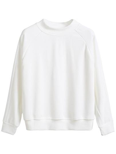 White Raglan Sleeve Sweatshirt