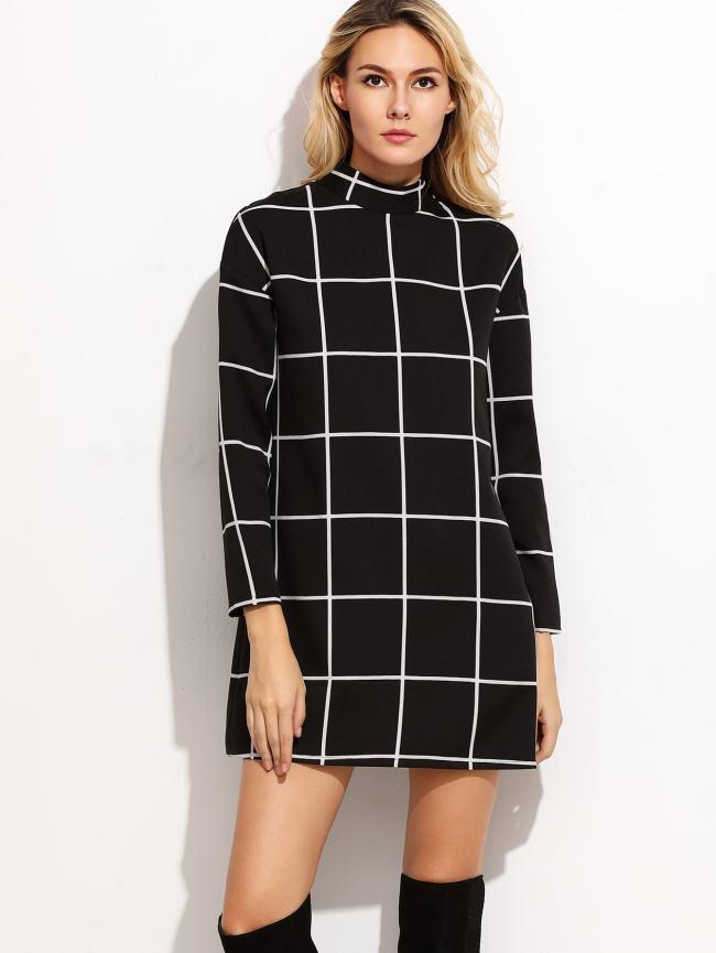SheIn Grid Mock Neck Tunic Dress