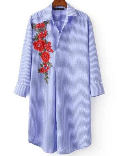Blue Vertical Striped Flower Embroidery Curved Hem Blouse